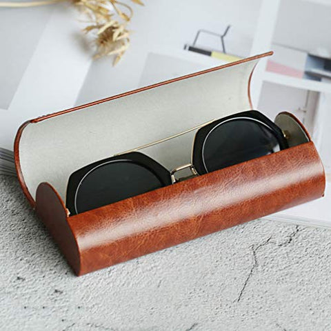 Healifty Magnetic Eyeglasses Case Sunglasses Storage Case Soft Glasses Box Simple Eyeglasses Protector Leather Protective Case Spectacle Cases For Male Female Brown