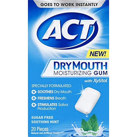 Act Gum Moisturizing for Dry Mouth, 20 Pieces each Pack (12)