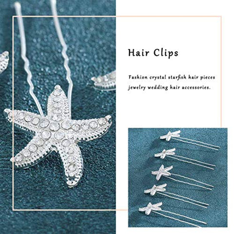 Fdesigner Dainty Starfish Hair Accessories Silver Fashion Crystal Wedding Hairpins Cute Star Hair Jewelry for Women and Girls 5pcs