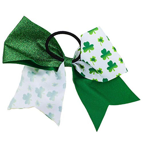 Lux Accessories Green Saint Patrick's Celebration Clover Black Hair Elastic