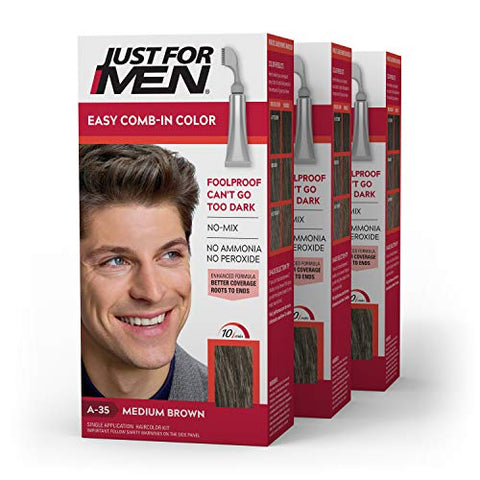 Just For Men Easy Comb-In Color (Formerly Autostop), Gray Hair Coloring for Men with Comb Applicator - Medium Brown, A-35 - Pack of 3 (Packaging May Vary)