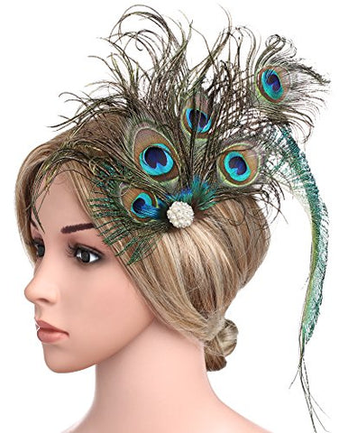 BABEYOND Peacock Feather Hair Clip Peacock Fascinator with Rhinestones Roaring 20s Peacock Flapper Fascinator 1920s Peacock Hair Accessories (Style 6)