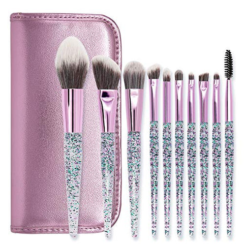 LETGO Makeup Brush Set 10 PCS Crystal Handle Synthetic Essential Cosmetics Brush Kit Face Powder Foundation Blending Blush Concealer Eye Shadow Eyelash Brushes Gifts(Leather Bag)