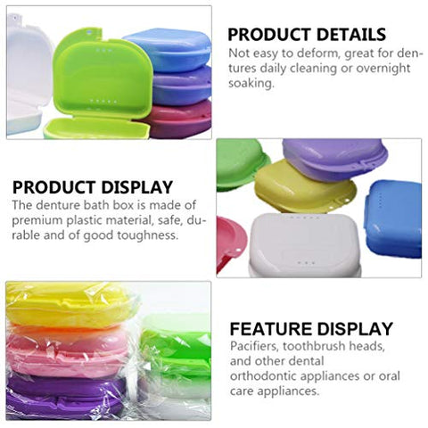EXCEART 10pcs Retainer Case Portable Denture Case Aligner Case False Teeth Storage Box For Travel