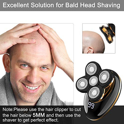 Kibiy Electric Shavers for Men Bald Head Shaver LED Mens Electric Shaving Razors Rechargeable Cordless Wet Dry Rotary Shaver Grooming Kit with Clippers Nose Hair Trimmer Facial Cleansing Brush