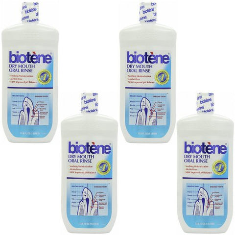 4 Pack Wholesale Lot Biotene Oral Rinse Mouthwash for Dry Mouth Symptoms 33.8 oz