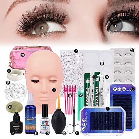19pcs False Eyelashes Extension Practice Exercise Set, Professional Flat Mannequin Head Lip Makeup Eyelash Grafting Training Tool Kit for Makeup Practice Eye Lashes Graft