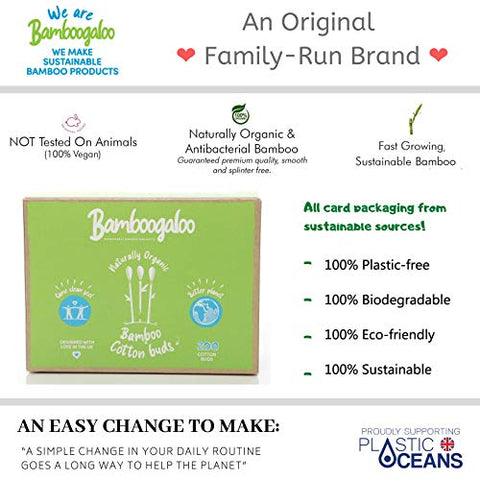 1,000 BAMBOOGALOO Organic Bamboo Cotton Buds -100% Plastic Free. Eco-Friendly & Biodegradable, Value Pack of Q Tips/Ear Buds/Swabs. Zero Waste Alternative to Plastic Earbuds/Sustainably Sourced/Vegan