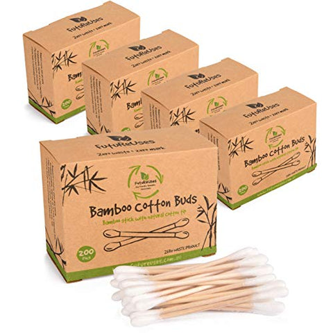 1000 Bamboo Cotton Swabs by FutureUses - 5 x 200 Wooden Buds - Eco Friendly Packaging - Biodegradable - Cleaning swabs - 100% Zero Waste Product
