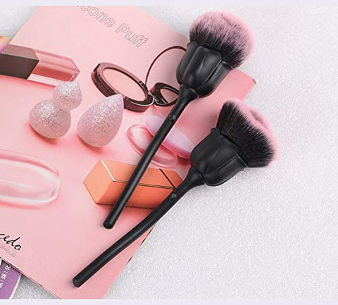 BYAMD 2 pieces Makeup Brushes Premium Quality Synthetic Foundation Flawless Powder Cosmetics Pretty Pink Rose Brushes Kits