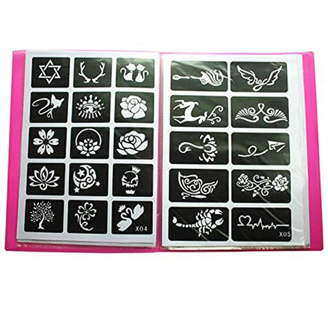 20 Sheet (446 Pieces) Airbrush Tattoo Stencils Album Art Book,Small Glitter Tattoo Template for Body Painting