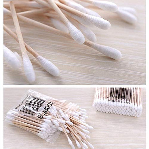 Natrual Double Head Cotton Swab Women Makeup Cotton Buds Tip For Medical Wood Sticks Nose Ears Cleaning Health Care Tools Value Pack 5/10/20 (pack 10)