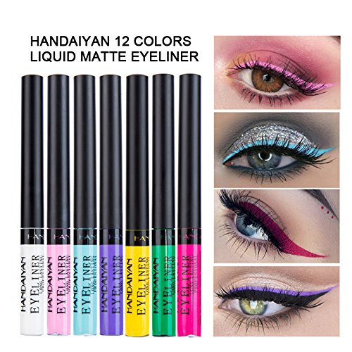 Matte Liquid Eyeliner, Spdoo 12 Colors Waterproof High Pigmented Colorful Eye Liner Pen Set