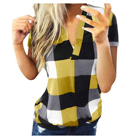 WUAI-Women Casual Short Sleeve Plaid Tunic Shirts Plus Size Henley V Neck Pullover Blouse Flowy Tops (Yellow,XXXX-Large)