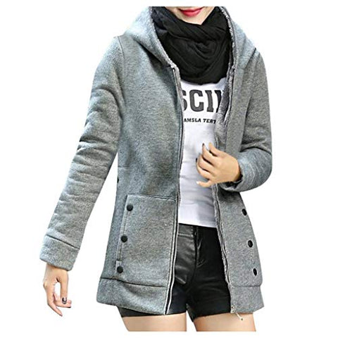 Women Hooded Coat,Jushye Winter Warm Solid Button Sweatshirt Pockets Composite Cardigan Thicker Outwear Sweater (L, Gray)