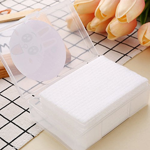 Lurrose 400pcs Facial Cotton Tissue Disposable Soft Cotton Pads Face Towel for Sensitive Skin Face Make Up Removing with Storage Box