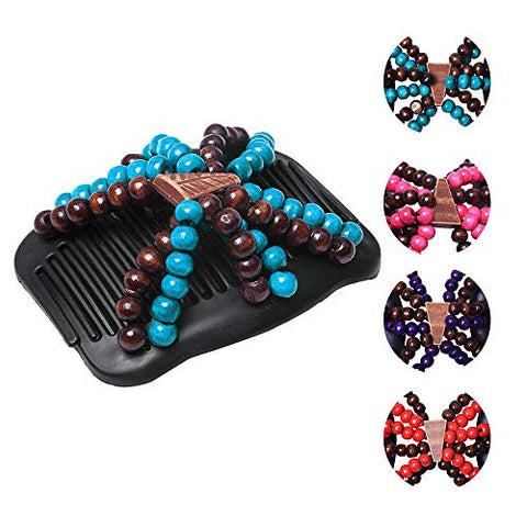 LOVEF 3 Pcs Women Magic Hair Combs Wood Beaded Stretch Double Side Combs Clips Bun Maker Hair Accessories Random Color