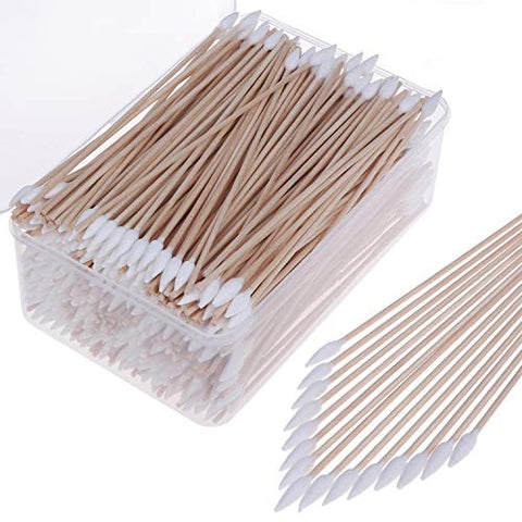 Xgood 600 Packs Cotton Swabs Cleaning Swabs 6 Inch Wooden Long Makeup Cotton Swabs Single Tip Cleaning Swabs Firearm Cleaning with Storage Case for Jewelry Ear Cleaning