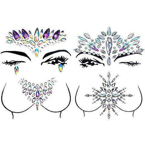 Face Gems,Carkio 2 Sets Mermaid Face Gems Rhinestone Tattoo,Face Gems Stick On and Chest Jewels,Festival Jewels Face Chest Forehead Body Temporary Tattoos For Women Girls