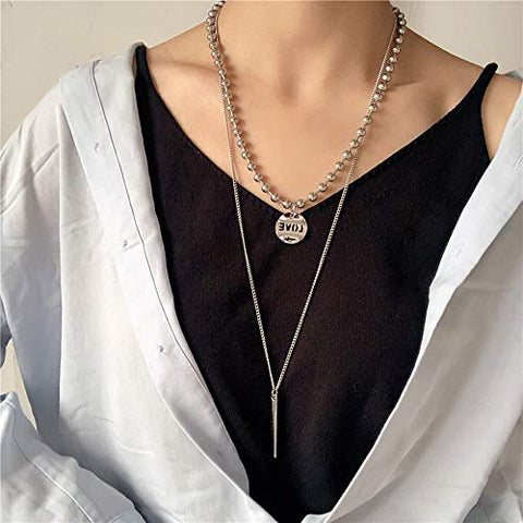 YERTTER Dainty Unique Punk Layering Chain Choker Necklace Boho Jewelry Set Layered Bohemian Silver Coin Pendant Statement Chunky Chain Necklace for Women Man