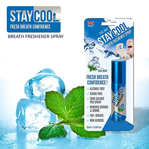 StayCool Breath Freshener Spray Blister 20ml Cool Mint Flavor 130+ Sprays, Alcohol Free, Sugar Free, Zero Calorie, Non-Aerosol, Perfect for Keto Breath - 3 Pack
