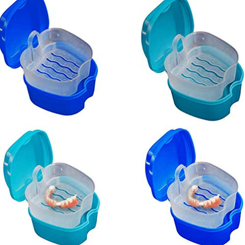 HEALLILY Denture Case with Strainer Denture Bath Box False Teeth Storage Box Container Holder for Travel Retainer Cleaning (Random Color)