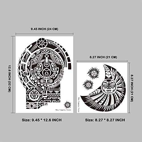 Leoars Extra Large Temporary Tattoo Similar the Rock Arm Chest Big Totem Body Tattoos Sticker for Men Women Makeup Waterproof Fake Tattoo, 2-Sheet