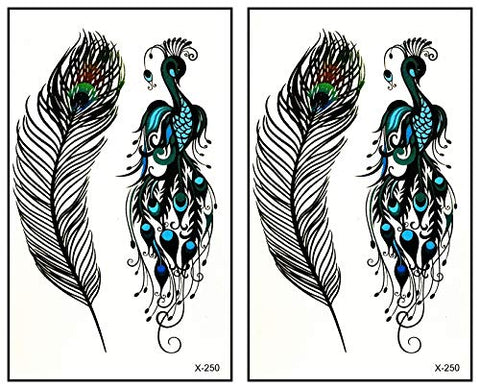 Mini Tattoos 2 Sheets Temporary Tattoos Bird Peacock Feather Fake Tattoos Removable Waterproof Body Art Tattoo Cartoon Stickers Make up Neck Shoulder Upper arm Thigh for Women Teens Girls (14)