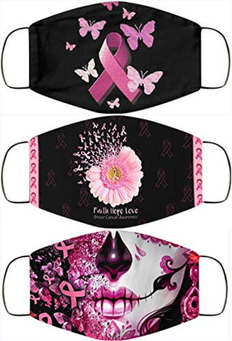 Breast Cancer Awareness Faith Hope Love Pink Ribbon Face Bandanas, Owill Reusable Washable Bandanas Breast Cancer Gifts (CDE /3PC)