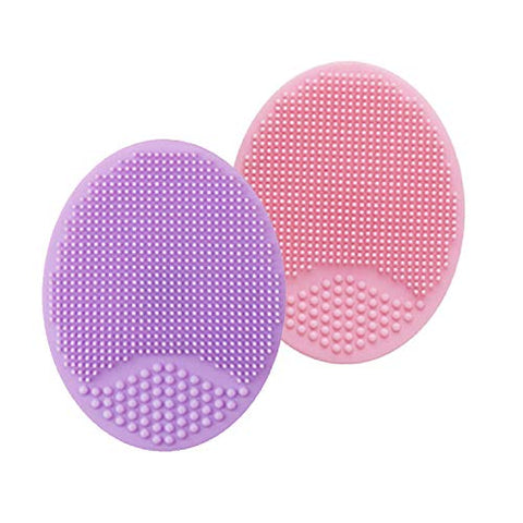 Face Scrubber,Soft Silicone Facial Cleansing Brush Wash Sponge Massage Pore Blackhead Removing Exfoliating Scrub for Sensitive Greasy Dry and All Kinds of Skin (Pink+Purple)