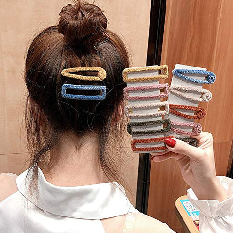 Yohok-Go 12 Pcs Elegant Fluff Hair Clips Set Fashion Geometric Alligator Barrettes Hair Accessories Hairpins for Women Ladies Girls