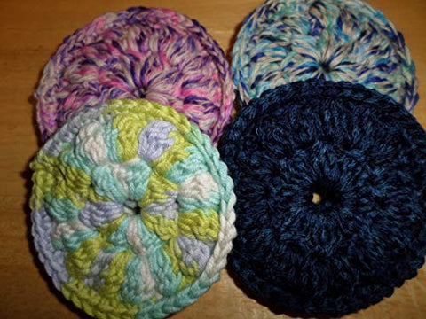 Kitchen Doodads - Crochet Trinkets Handmade Crocheted Face Scrubbies, 100% Cotton, Make-up Remover Pads,Facial Wipes - Double Thickness - Colors Vary - Set of 4