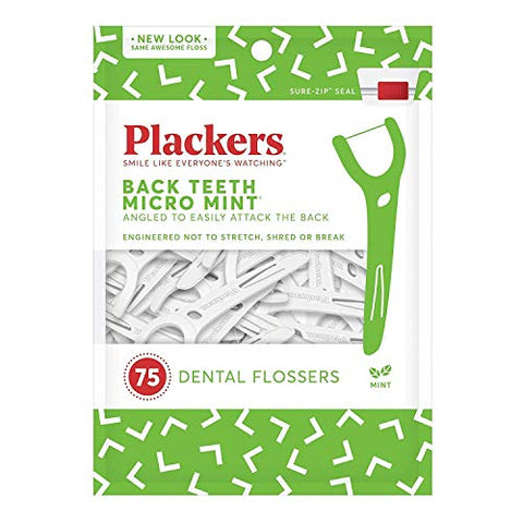 PLACKERS Right Angle Easy Flossing, Mint 75 ea (Pack of 4)