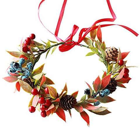 Christmas girl flower crown wreath women beautiful artificial berries wedding bride Women Flower Headband