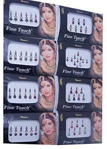 IFH Indian Jewelry Stickers Bindi Temporary Tattoo Forehead Assorted Sticker Lot of 24 Packs