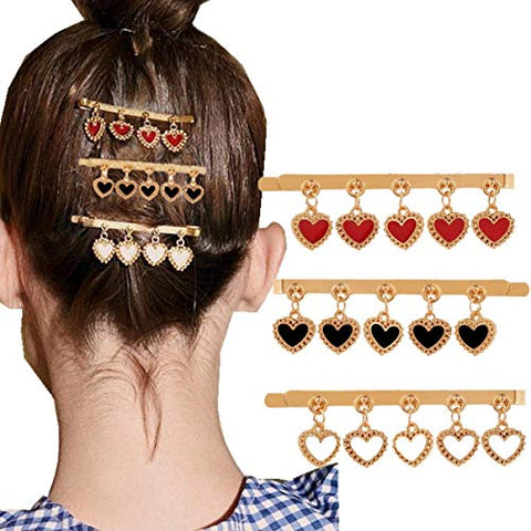 cuhair 3pcs Retro Metal Vintage Gold Barrettes With Heart Tassel For Women Girl Hair Clip Hair Pin Hair Accessories