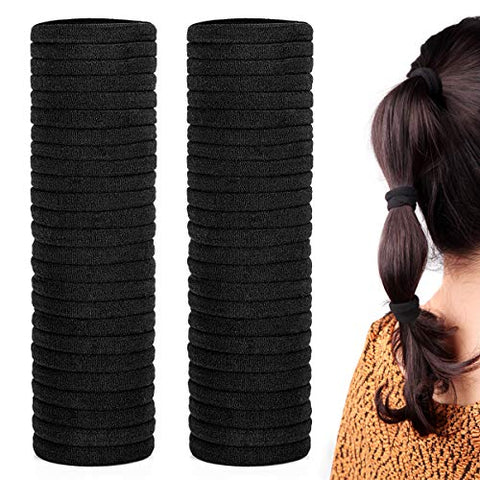 50 Pack Dreamlover Black Hair Ties, Non Pull Cotton Hair Ties For Men And Women, Soft Ponytail Holde