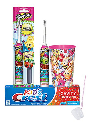 Shopkin 3pc. Bright Smile Oral Hygiene Set! Turbo Powered Toothbrush, Crest Kids Sparkling Toothpaste & Mouthwash Rinse Cup! Plus Bonus