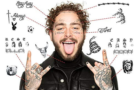 Post Malone Updated 2019 Temporary Tattoos | Realistic | Face+Hands | MADE IN THE USA