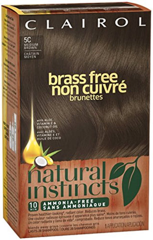 Clairol Natural Instincts, 5C, Brass Free Med Brown, 2 pk