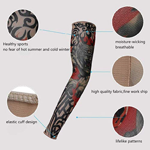 Fake Temporary Tattoo Sleeves  Encci 6 PCS Stretchy Fake Temporary Tattoo Sleeves Body Art Arm Stockings Slip Accessories Halloween Tattoo Soft for Men Women