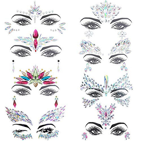 8PCS Face Gems,Carkio Mermaid Face Gems Rhinestone Tattoo,Face Gems Stick On and Chest Jewels,Festival Jewels Face Chest Forehead Body Temporary Tattoos For Women Girls
