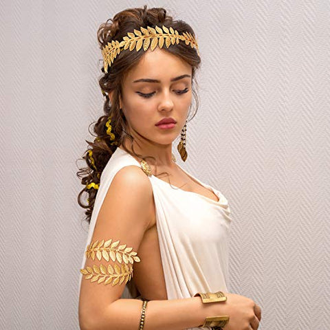 15 Pieces Goddess Costume Accessories Set Including Greek Leaf Bracelet, Golden Leaves Bridal Hair Crown Headband, Artificial Pearl Leaf Earrings and Hair Pins for Wedding Party Accessories