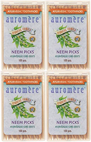 Auromere Ayurvedic Neem Toothpicks - Vegan, Natural, Non GMO, Made from Birchwood (100 Count), 4 Pack