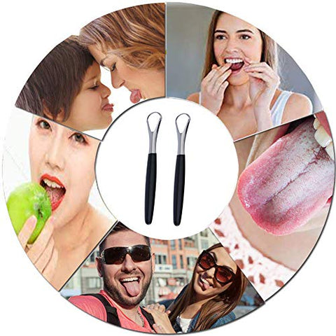 MEOOAWQI Black handle Tongue Scraper (2-pack), Cure Bad Breath (Non-Medical Grade), Stainless Steel Tongue Cleaners, 100% BPA Free Metal Tongue Scrapers for Fresher Breath in Seconds