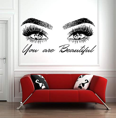 Eyelashes Lashes Eyebrows Brows Beauty Salon Wall Decal Sticker Eye Quote Make Up l062!