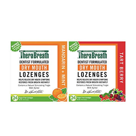 TheraBreath Dry Mouth Lozenges, Mandarin Mint Flavor, 24 Lozenges and TheraBreath Dry Mouth Lozenges with ZINC, Tart Berry Flavor, 24 Lozenges