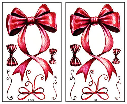 Mini Tattoos 2 Sheets Pink Bow Ribbon Cartoon Tattoos Waterproof Temporary Cute Stickers Tattoo Fashion Fantasy Fun Party Stickers Tattoo Make up Body for Men Women Kids Children's (04)