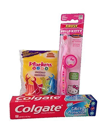 Children's Dental Care Bundle with Colgate Bubble Fruit Toothpaste 2.7 oz, Plackers Dental Flossers, and Dr. Fresh Hello Kitty Toothbrush and Cover