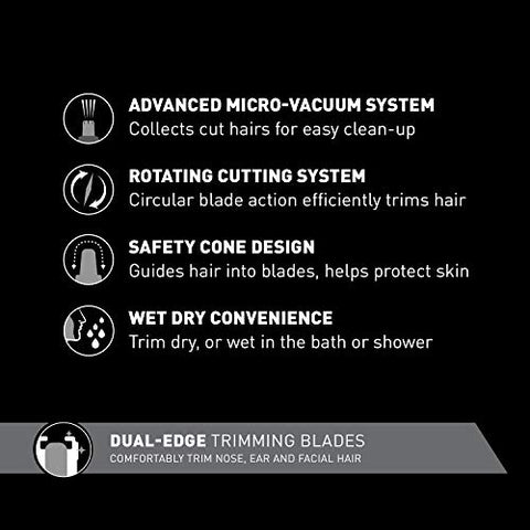 Panasonic Nose Hair Trimmer and Ear Hair Trimmer ER430K, Vacuum Cleaning System , Men's, Wet/Dry, Battery-Operated